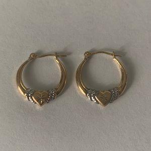 Gold Plated Heart Hoop Earrings